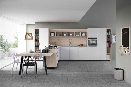 مدل هایی از آشپزخانه های جدید,مدل آشپزخانه به رنگ سفید و طرح چوب