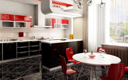 دکوراسیون و چیدمان رنگی آشپزخانه,کاربرد رنگ های شاد در آشپزخانه