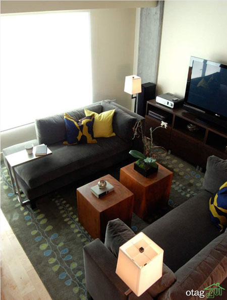 چیدمان پذیرایی مستطیل شکل بسیار شیک در آپارتمان های امروزی